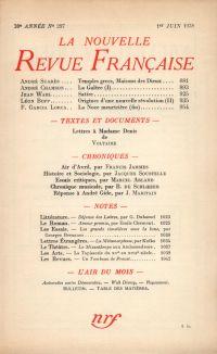 La Nouvelle Revue Française N° 297 (Juin 1938)