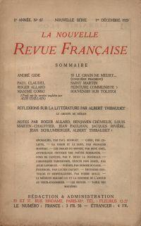 La Nouvelle Revue Française N' 87 (Décembre 1920)