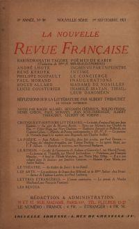 La Nouvelle Revue Française N' 96 (Septembre 1921)