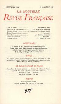 La Nouvelle Revue Française N' 141 (Septembre 1964)