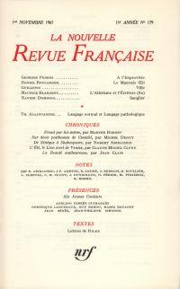 La Nouvelle Revue Française N' 179 (Novembre 1967)
