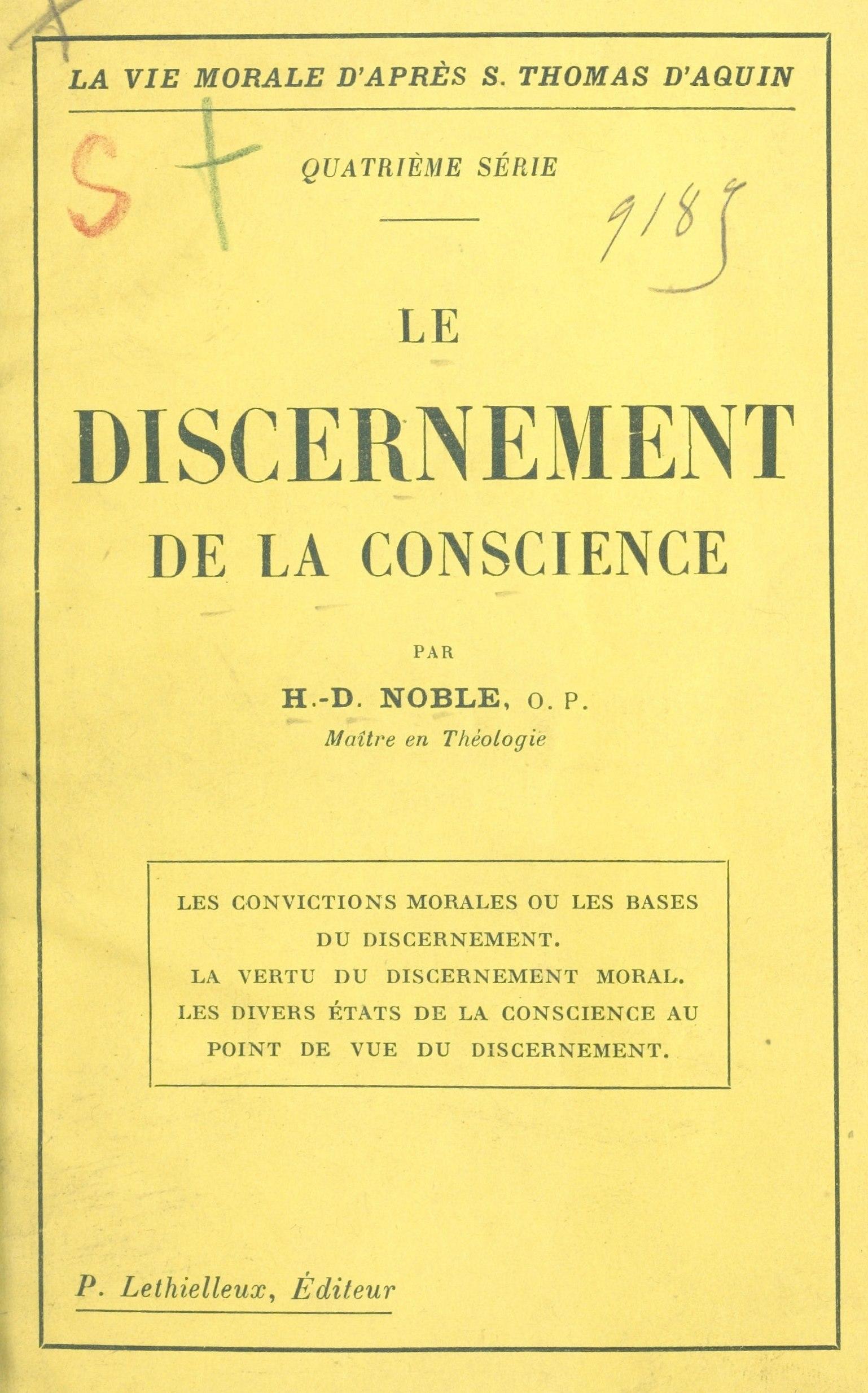 Le discernement de la conscience