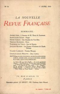 La Nouvelle Revue Française N' 16 (Avril 1910)