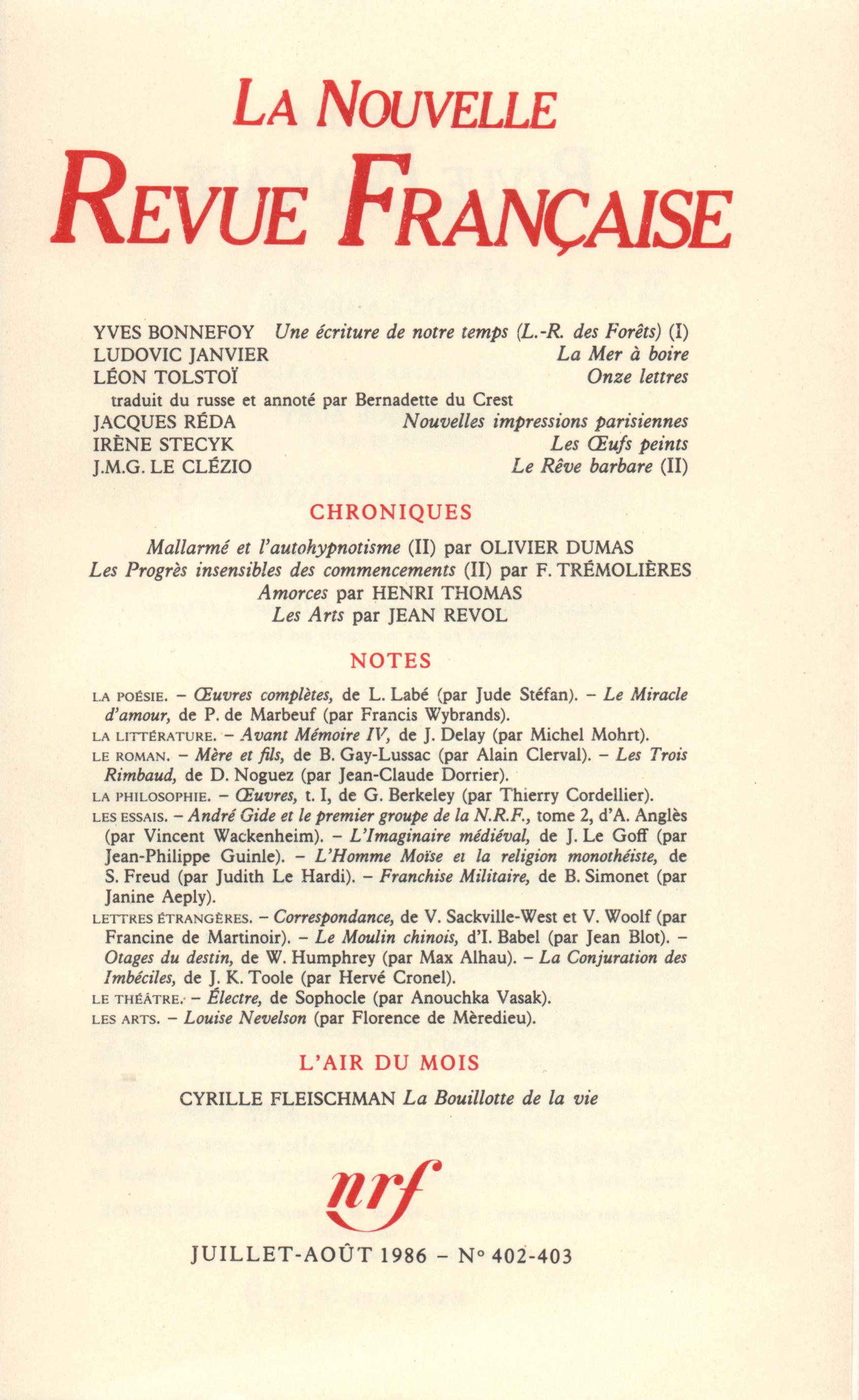 La Nouvelle Revue Française N° 403