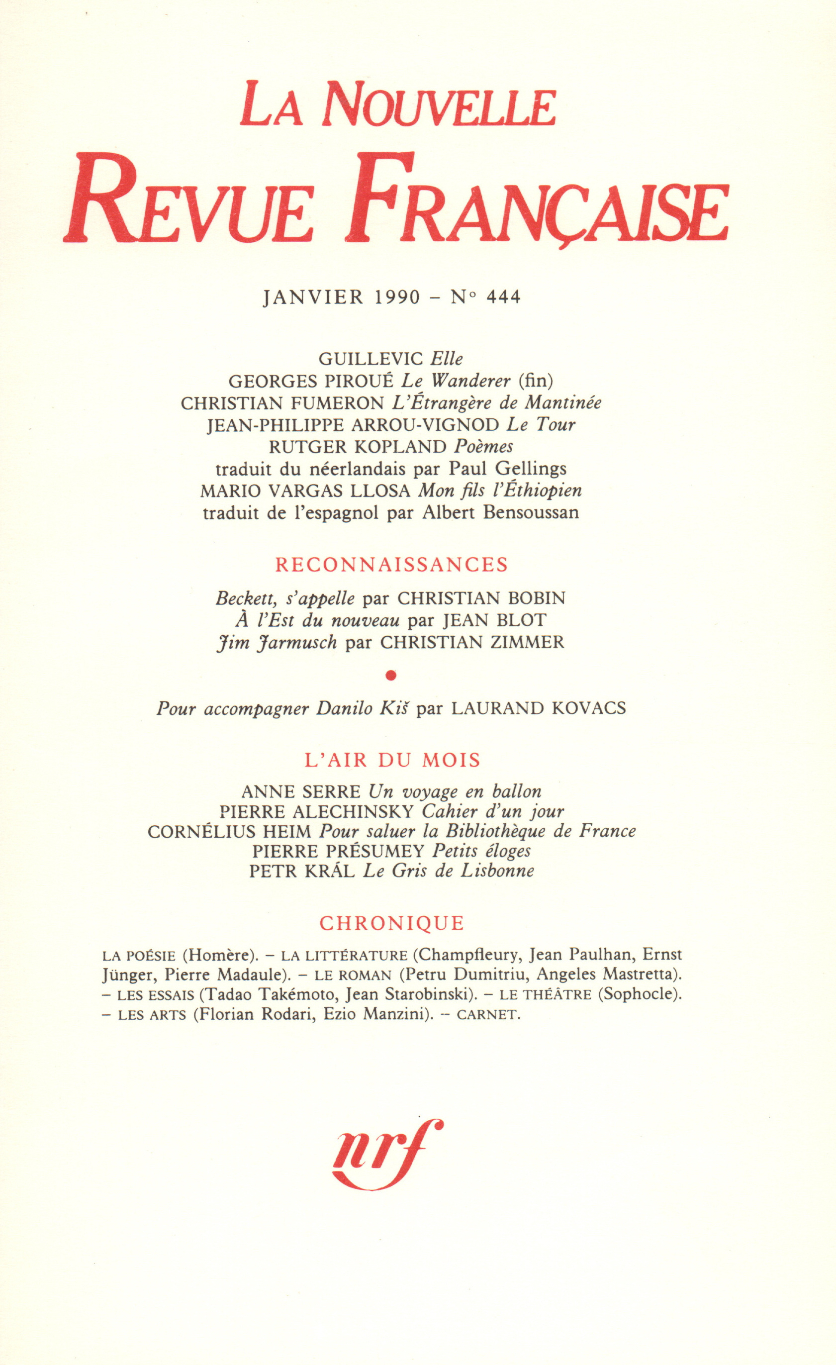 La Nouvelle Revue Française N° 444