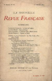 La Nouvelle Revue Française N' 39 (Mars 1912)