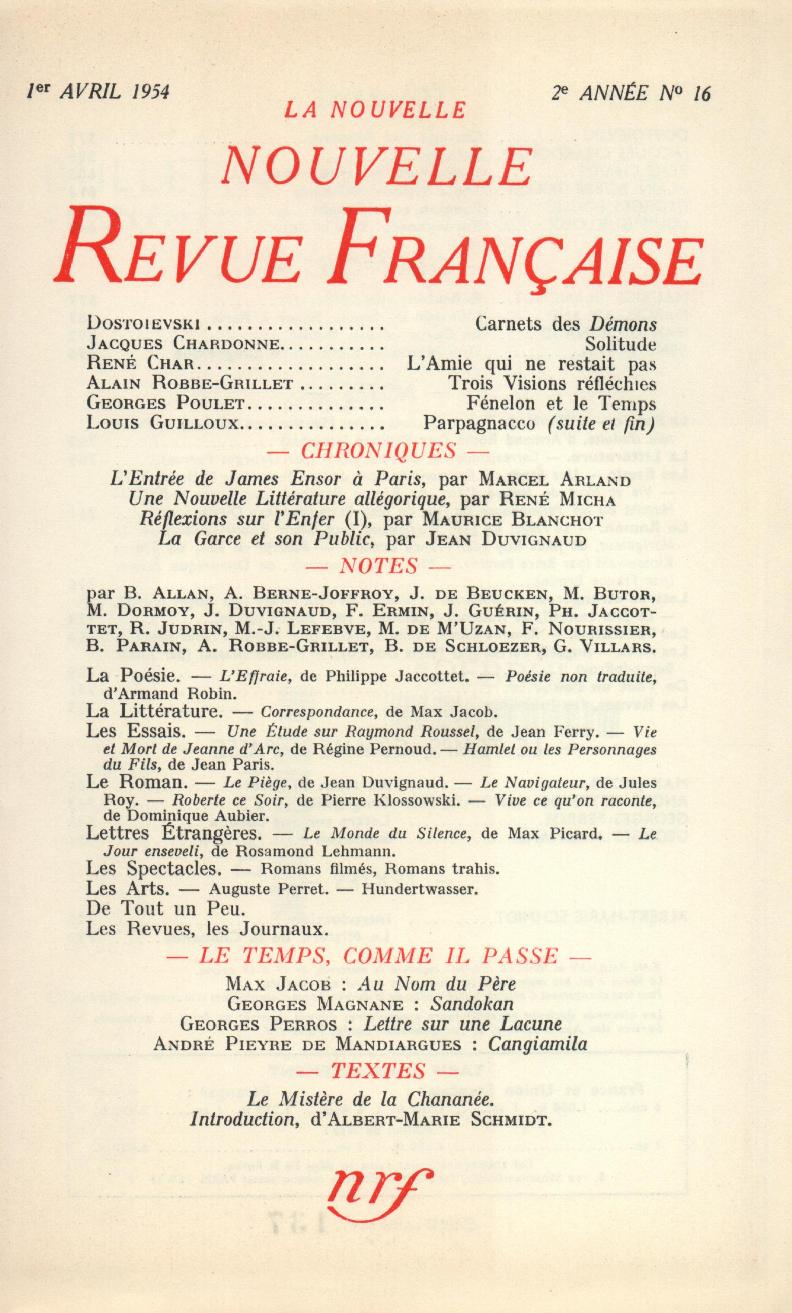 La Nouvelle Nouvelle Revue Française N' 16 (Avril 1954)