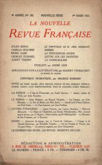 La Nouvelle Revue Française N' 102 (Mars 1922)