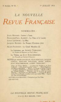 La Nouvelle Revue Française N' 55 (Juillet 1913)