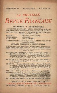 La Nouvelle Revue Française N' 101 (Février 1922)