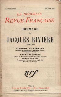 Hommage ŕ Jacques Rivičre (1886-1925) N' 139 (Avril 1925)