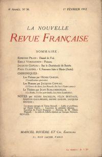 La Nouvelle Revue Française N' 38 (Février 1912)