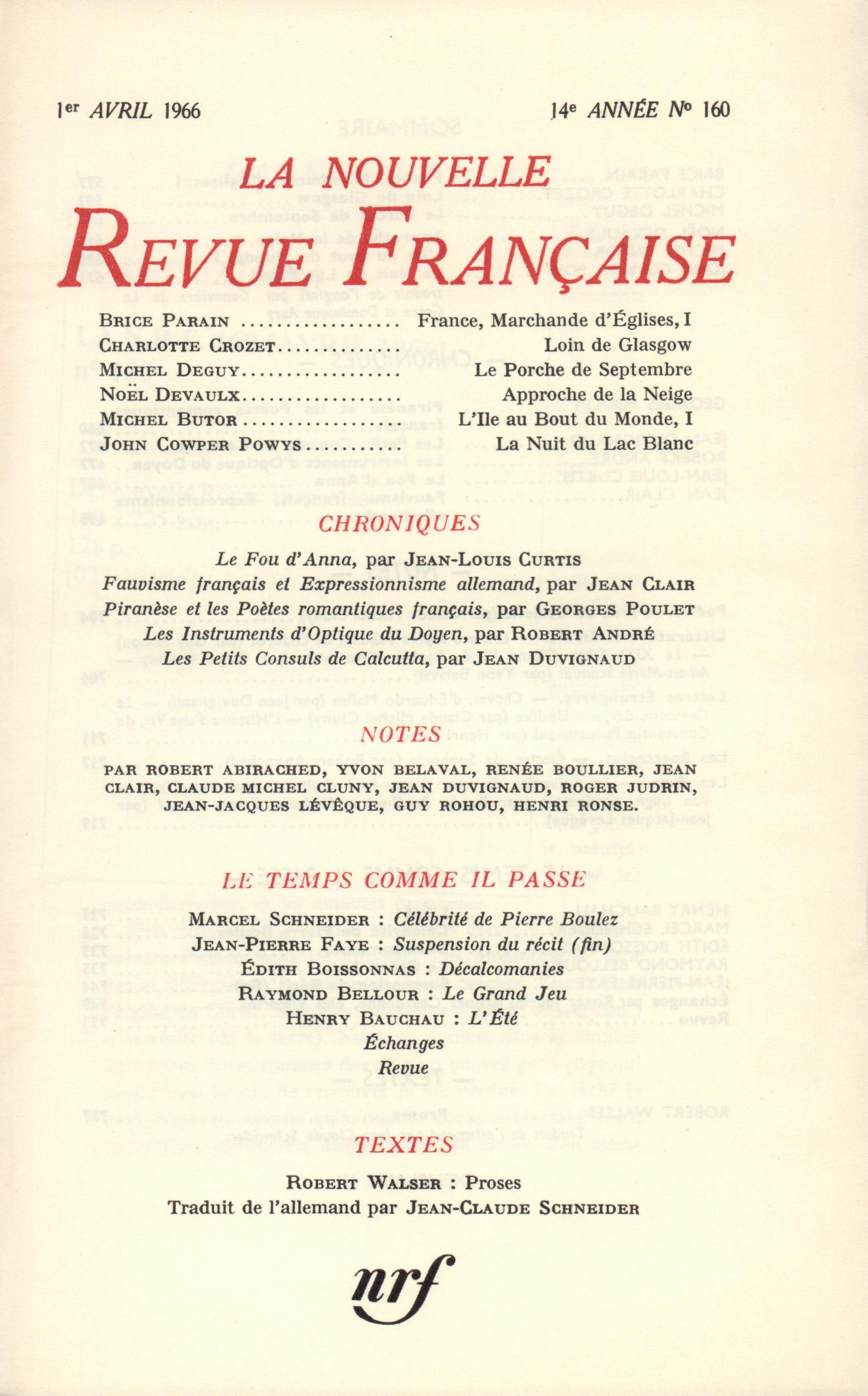La Nouvelle Revue Française N' 160 (Avril 1966)