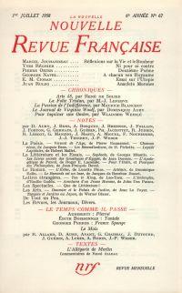 La Nouvelle Nouvelle Revue Française N' 67 (Juillet 1958)