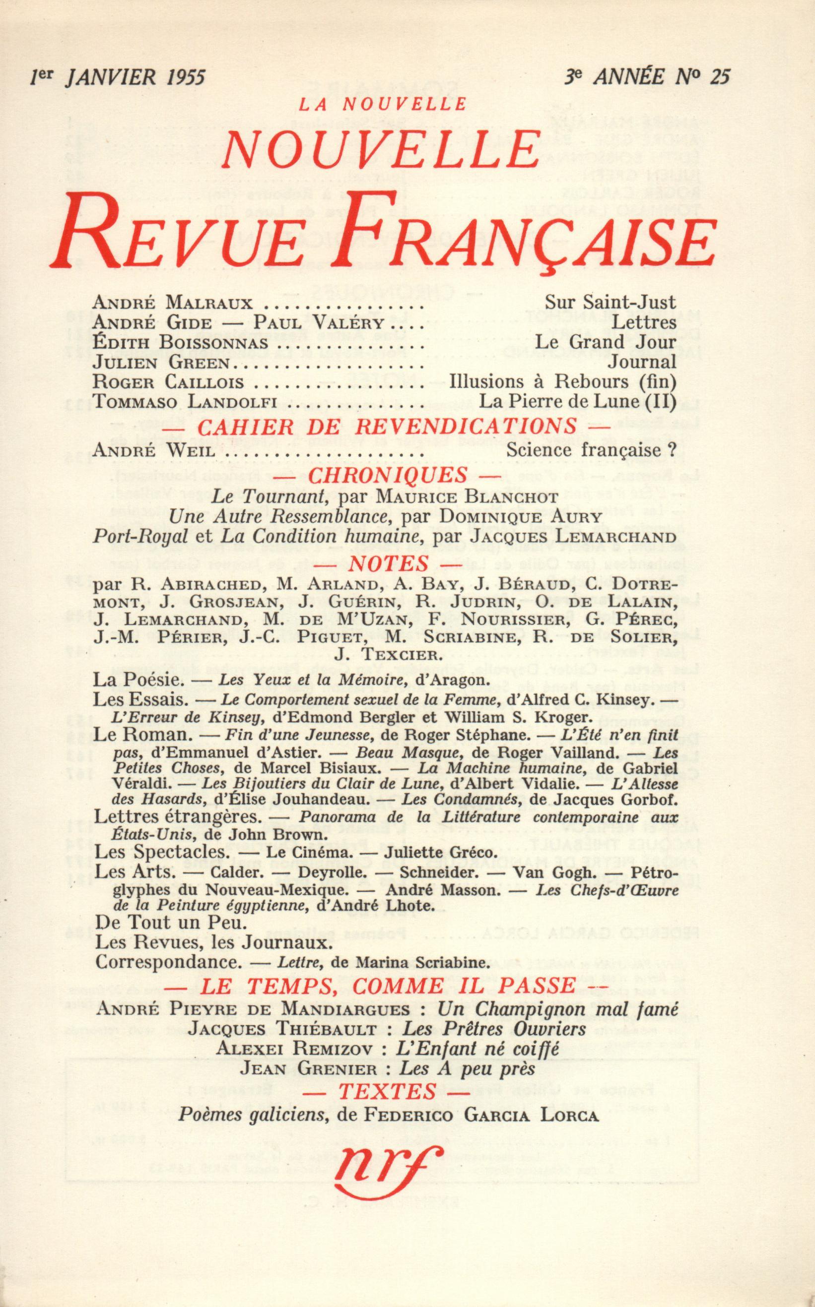 La Nouvelle Nouvelle Revue Française N' 25 (Janvier 1955)