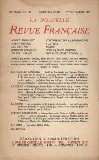 La Nouvelle Revue Française N' 120 (Septembre 1923)