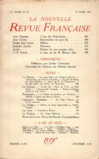 La Nouvelle Revue Française N° 271 (Avril 1936)