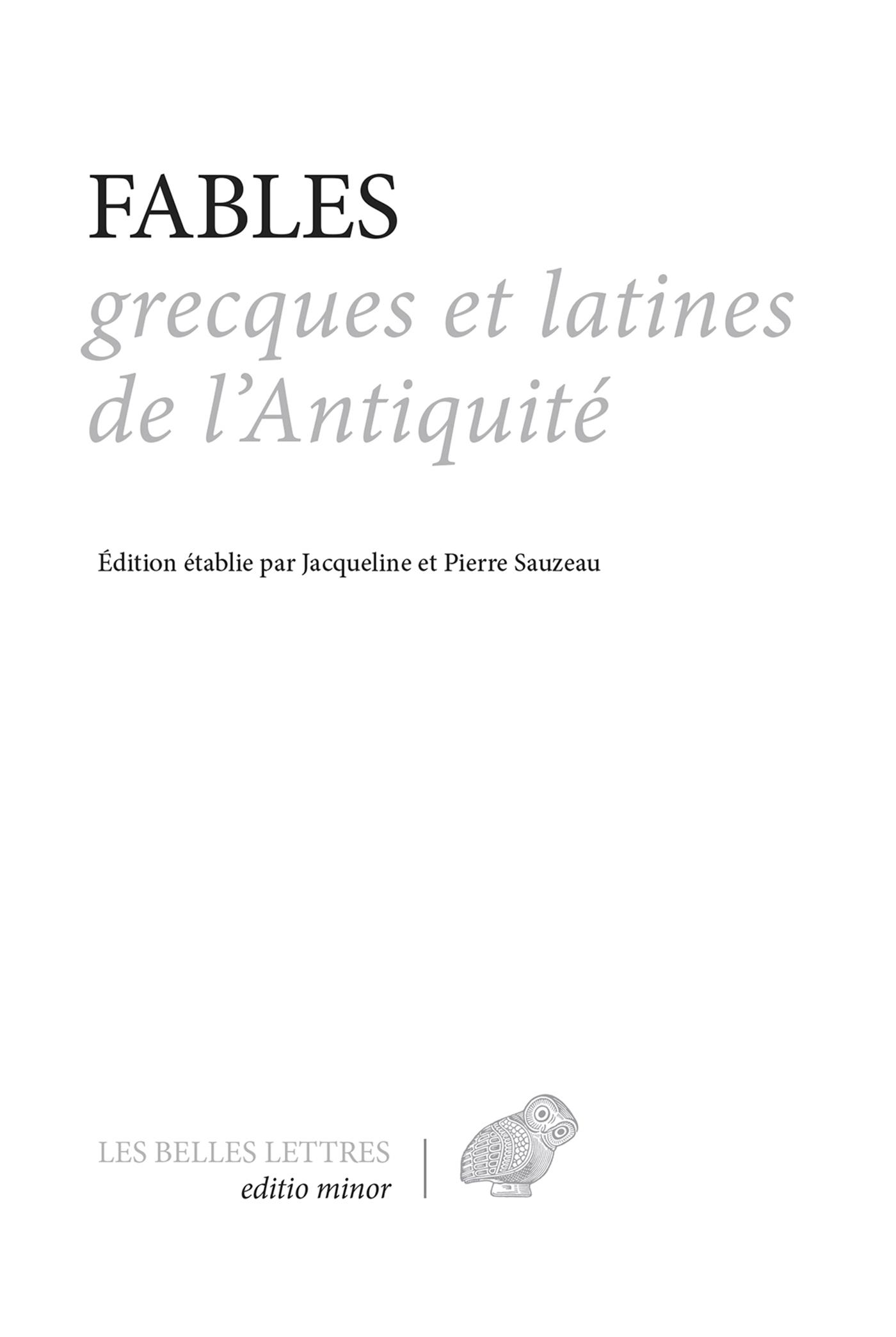 Fables grecques et latines ...