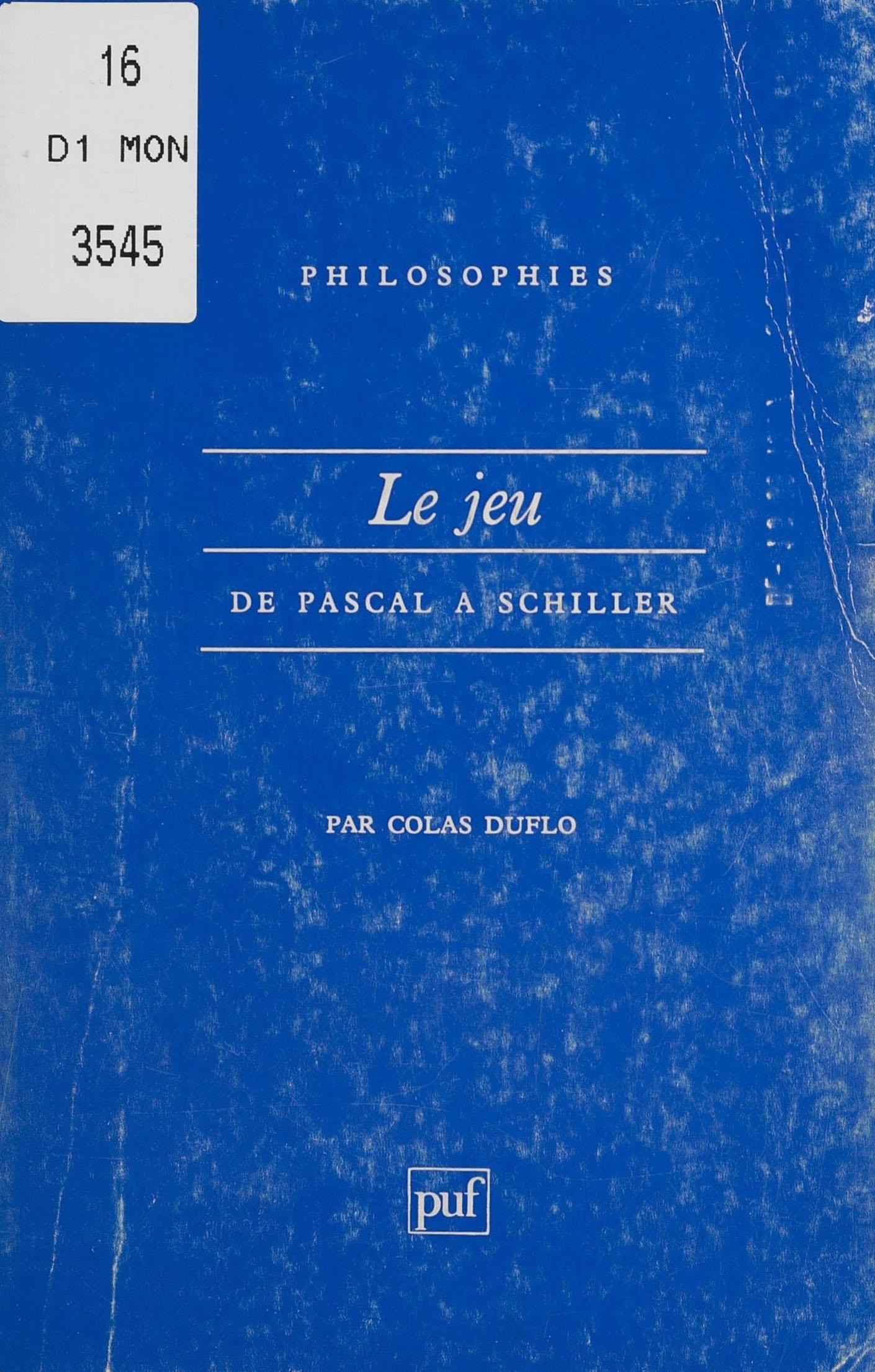 Le Jeu de Pascal à Schiller