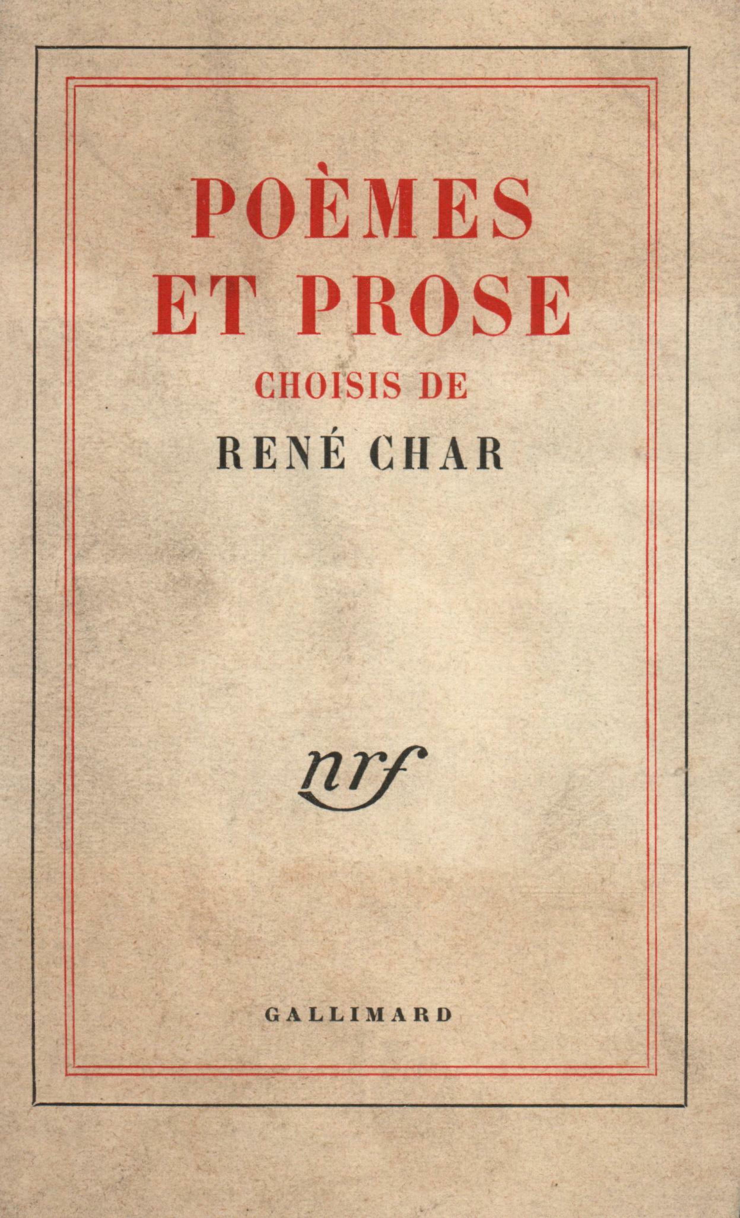 Poèmes et prose choisis