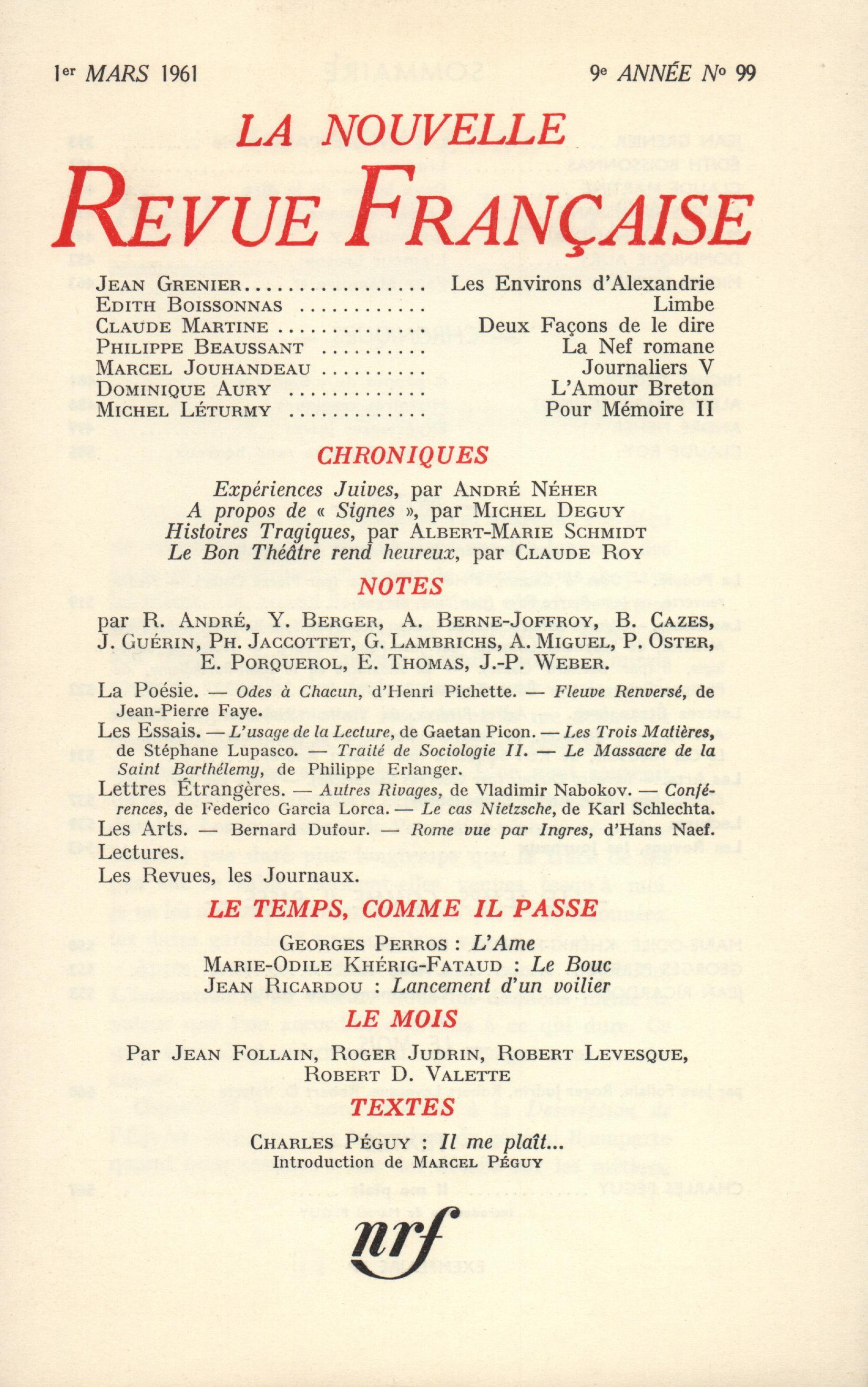 La Nouvelle Revue Française N' 99 (Mars 1961)