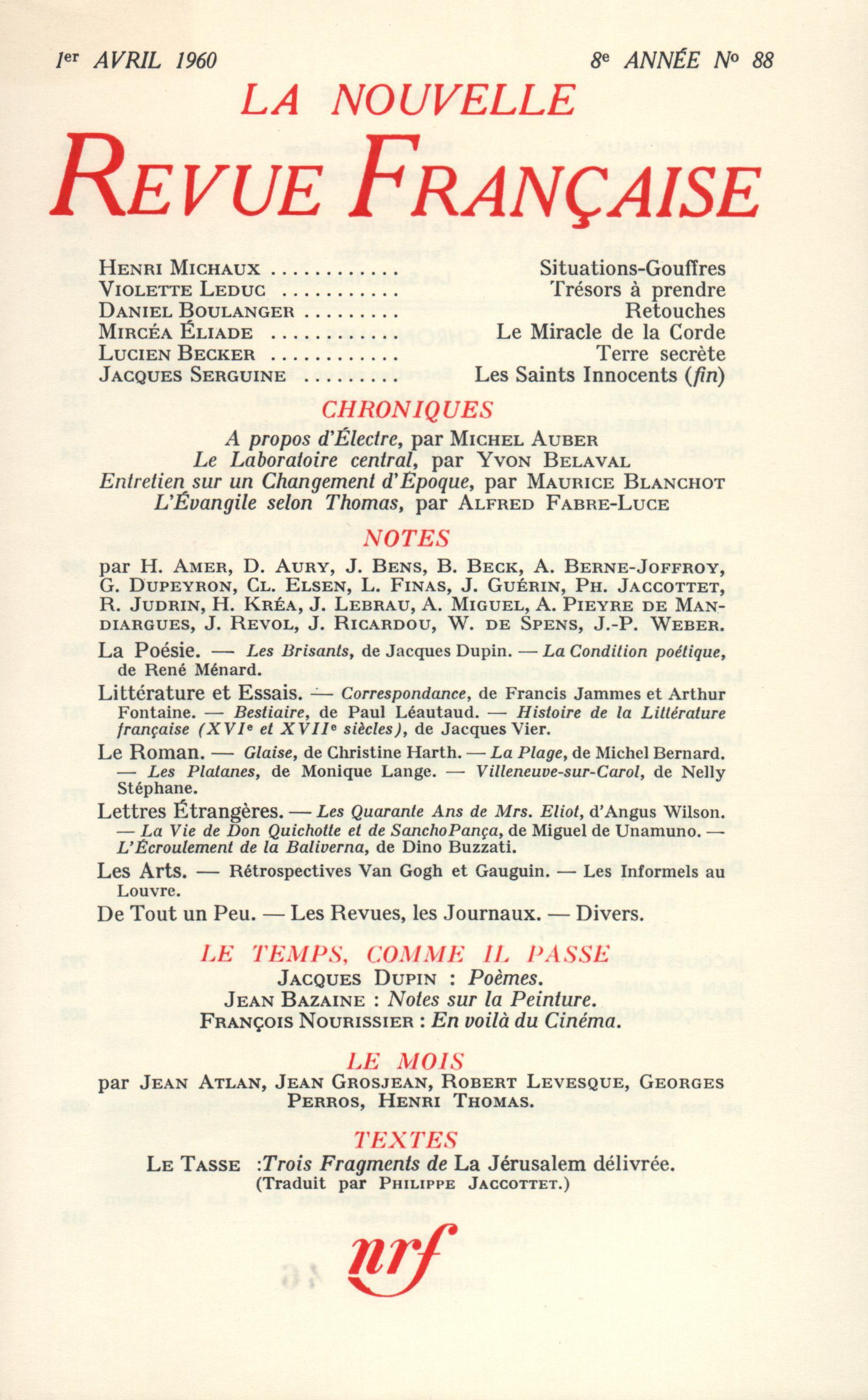 La Nouvelle Revue Française N' 88 (Avril 1960)