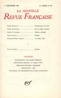 La Nouvelle Revue Française N' 189 (Septembre 1968)