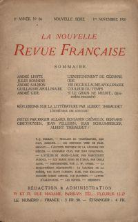 La Nouvelle Revue Française N' 86 (Novembre 1920)