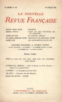La Nouvelle Revue Française N' 142 (Juillet 1925)
