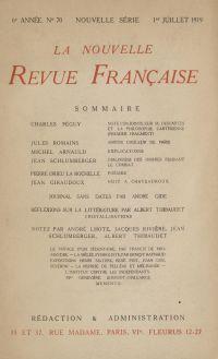 La Nouvelle Revue Française N' 70 (Juillet 1919)