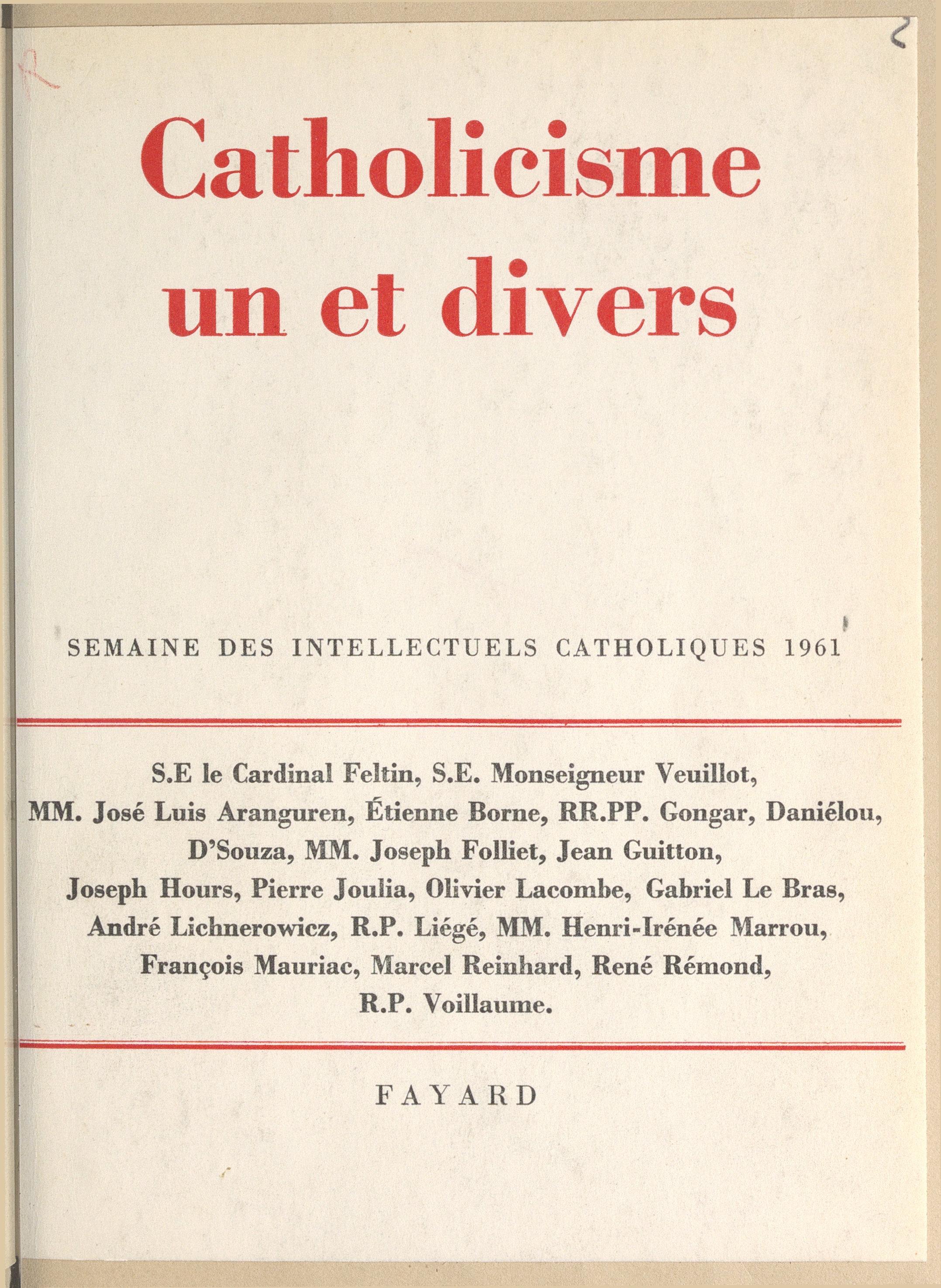 Catholicisme un et divers