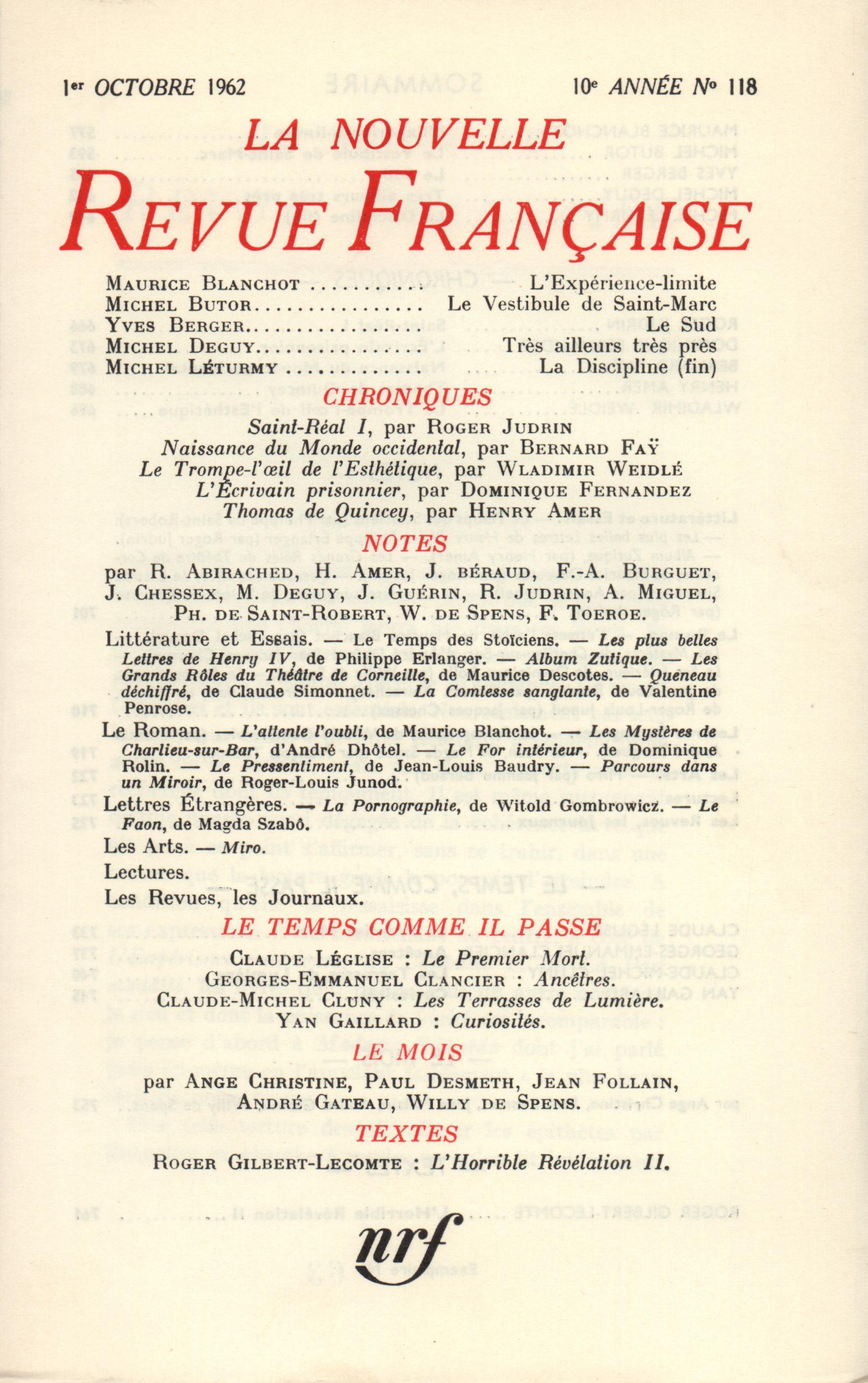 La Nouvelle Revue Française N' 118 (Octobre 1962)