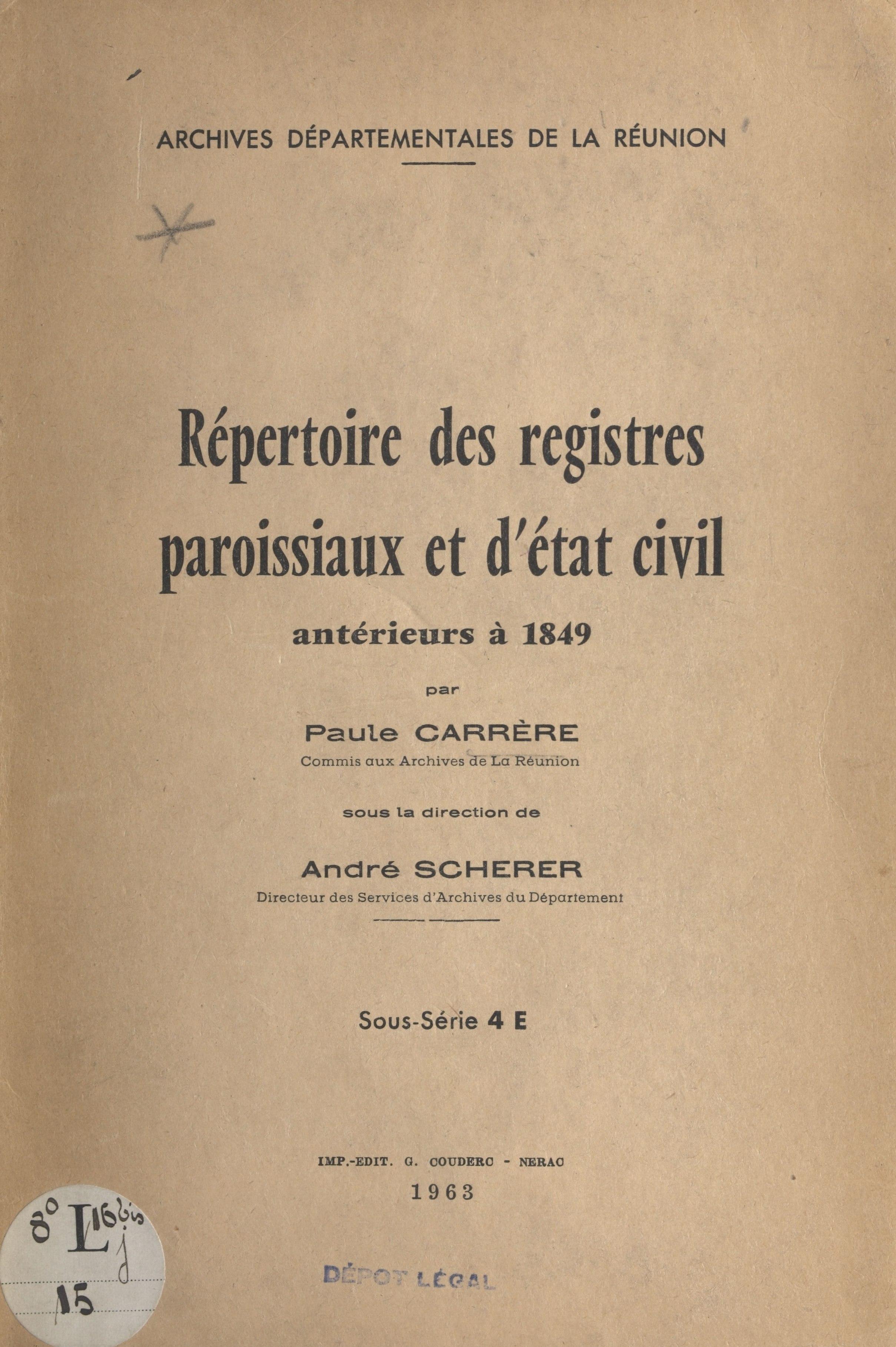 Répertoire des registres pa...