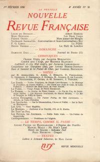 La Nouvelle Nouvelle Revue Française N' 38 (Février 1956)