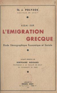 Essai sur l'émigration grecque