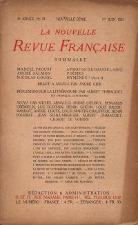 La Nouvelle Revue Française N' 93 (Juin 1921)