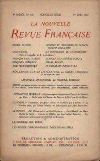 La Nouvelle Revue Française N' 105 (Juin 1922)