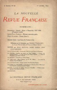 La Nouvelle Revue Française N' 64 (Avril 1914)