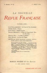 La Nouvelle Revue Française N' 32 (Aoűt 1911)