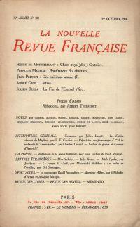 La Nouvelle Revue Française N' 181 (Octobre 1928)