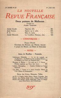 La Nouvelle Revue Française N° 237 (Juin 1933)