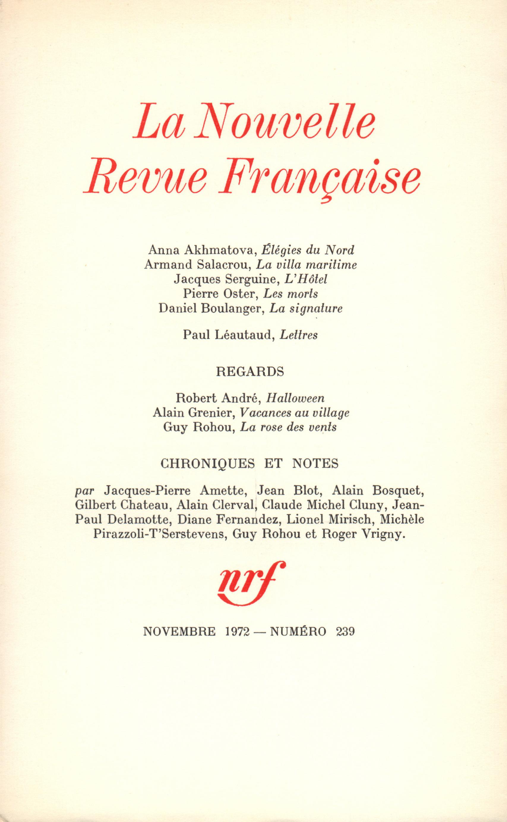 La Nouvelle Revue Française N° 239