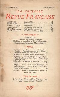 La Nouvelle Revue Française N° 277 (Octobre 1936)