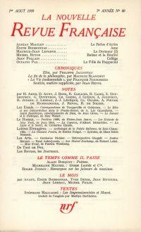 La Nouvelle Revue Française N' 80 (Aoűt 1959)