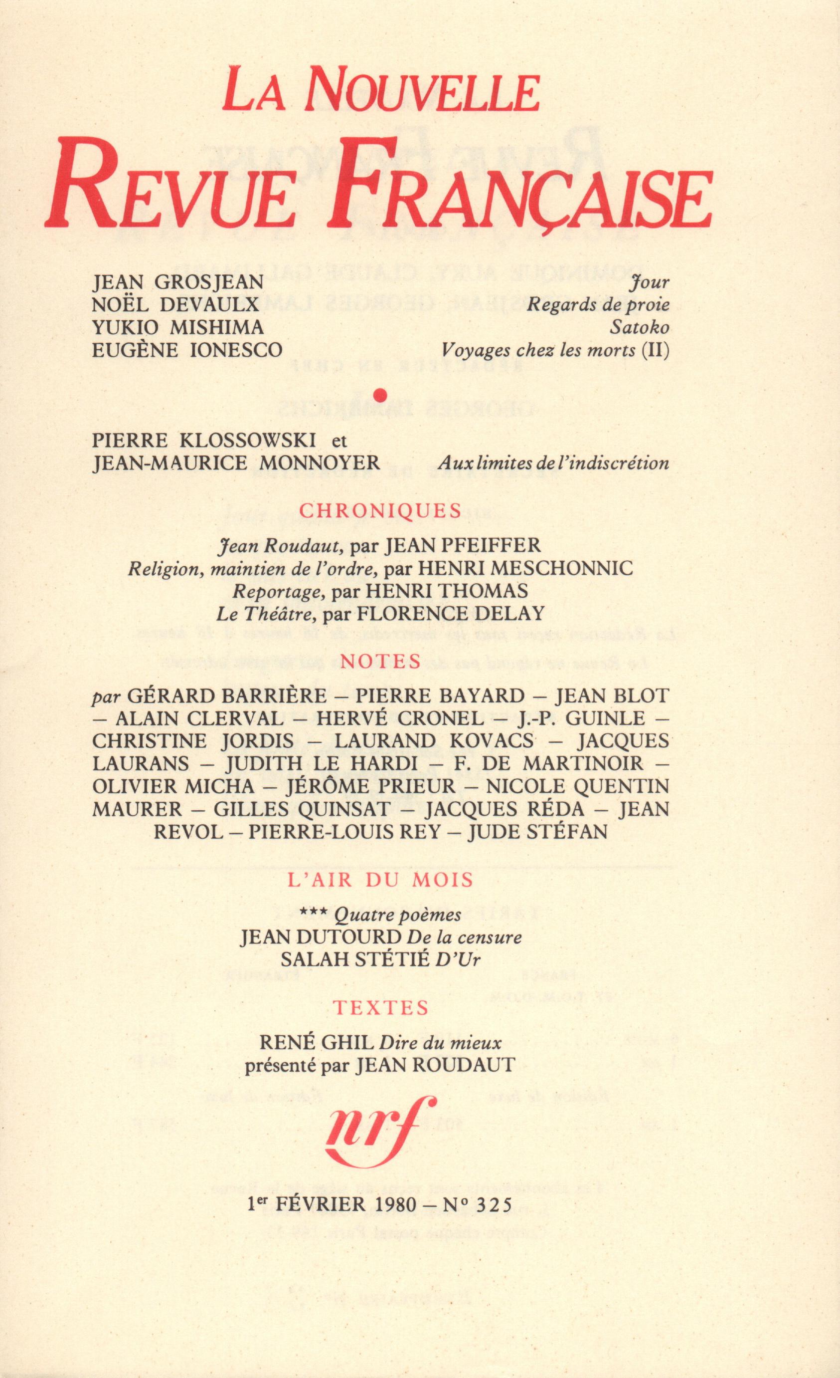 La Nouvelle Revue Française N° 325