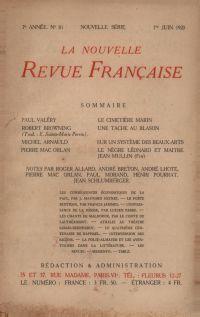 La Nouvelle Revue Française N' 81 (Juin 1920)