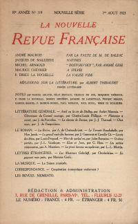 La Nouvelle Revue Française N' 119 (Aoűt 1923)