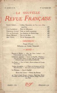 La Nouvelle Revue Française N' 193 (Octobre 1929)