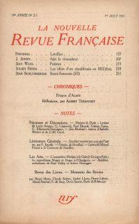 La Nouvelle Revue Française N' 215 (Aoűt 1931)