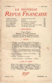 La Nouvelle Revue Française N° 251 (Aoűt 1934)